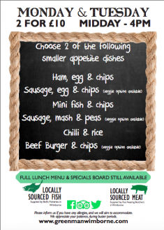 New 2 for 1 menu available now